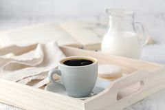 Home Interior with Coffee cup Books on table wooden tray Stock Photos