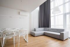 Home interior with corner sofa stock photo