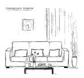 Home interior with couch and table.Hand drawn color sketch  Stock Photography