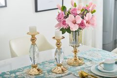 Free Home Interior Decor,dining Room , Bouquet In Glass Vase Stock Photo - 110496800