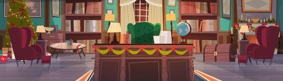 Home Interior Decorated For Christmas And New Year Holidays, Empty Workplace Office Desk And Armchair With Garlands Pine. Tree House Decoration Concept Flat Royalty Free Stock Image