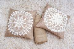 Home interior decoration elements. Lace, linen and cotton home decoration elements Stock Photos