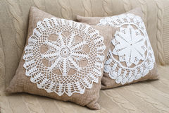 Home interior decoration elements. Lace, linen and cotton home decoration elements Royalty Free Stock Photography