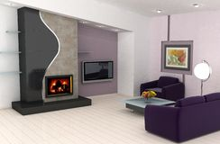 Home interior design. Modern living room with a fireplace Stock Photo