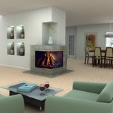 Home interior design. Modern living room with a fireplace Stock Photography
