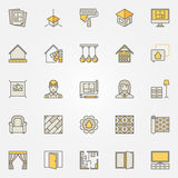 Home interior design colorful icons. Vector set of creative signs for designers and decorators Stock Photography