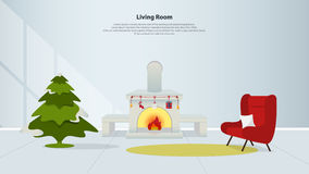 Home interior design with furniture. Living room with fireplace, red armchair and Christmas tree in flat design. Minimal style. Vector illustration Royalty Free Stock Photography