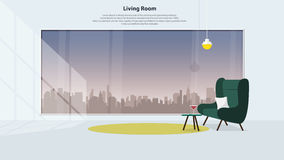 Home interior design with furniture. Modern living room with green armchair. Vector Royalty Free Stock Photography