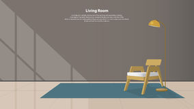 Home interior design with furniture. Modern living room with wood armchair, lamps and carpet in flat design. Vector. Royalty Free Stock Photo
