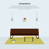 Home interior design. Modern living room with brown leather sofa. Vector Stock Photos