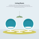 Home interior design. Modern living room with egg chair. Vector Royalty Free Stock Photos