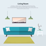 Home interior design. Modern living room interior with blue sofa. Vector Stock Photo