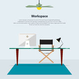 Home interior design. Modern office with director chair. Vector Royalty Free Stock Photography