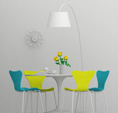 Home interior design, retro furniture. Clay render with color Royalty Free Stock Photos