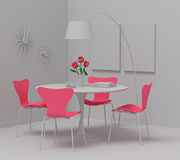 Home interior design, retro furniture. Clay render with pink col. Trendy interior. Clay render with a touch of bright color Royalty Free Stock Photo