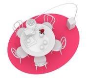 Home interior design, retro furniture. Colored clay render, pink Stock Photo