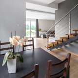 Home interior with dining table Royalty Free Stock Image