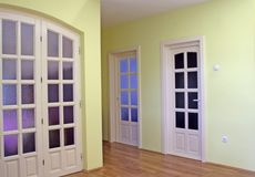 Home interior with doors. Home interior with white doors Royalty Free Stock Photography
