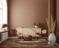 Home interior with ethnic boho decoration, living room in brown warm color