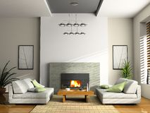 Home interior with fireplace. And sofas 3D rendering royalty free illustration