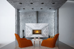 Home interior with fireplace Royalty Free Stock Photos