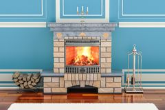 Home interior with fireplace, 3D stock illustration