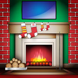 Home Interior with Fireplace Socks and Blank board Stock Photos