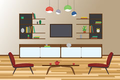 Home Interior flat  design. Living and dining room with furniture. Royalty Free Stock Photos