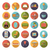 Home Interior Flat Design Vector Icons Collection. Set of 25 interior, furniture and home decoration icons in circles, flat design, long shadow Royalty Free Stock Photo