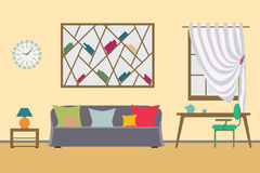 Home Interior flat vector design. Workspace for freelancer and  work  relax. Royalty Free Stock Images