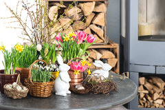 Home interior with flowers, easter decoration Royalty Free Stock Photo