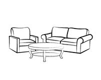 Home interior furniture with armchair, table, sofa Stock Photo