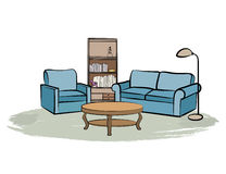 Home interior furniture with sofa, armchair, table, book shelf a Stock Image