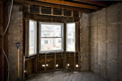 Home interior gutted for renovation Stock Photos