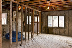 Home interior gutted for renovation stock photo