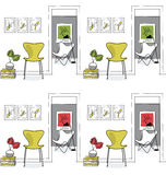 Home interior, hallway. Design icons, butterfly chair seamless p Stock Images