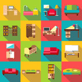 Home interior icons set, flat style Royalty Free Stock Photos