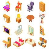 Home interior icons set, isometric style. Home interior icons set. Isometric illustration of 16 home interior vector icons for web stock illustration