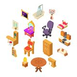 Home interior icons set, isometric style. Home interior icons set. Isometric illustration of 16 home interior vector icons for web royalty free illustration
