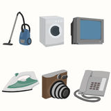 Home interior items. Vacuum cleaner, TV, washing machine, photo camera iron telephone Stock Image