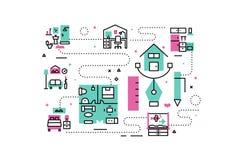 Home interior line icons illustration Royalty Free Stock Photo