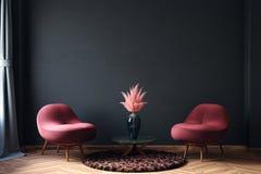 Free Home Interior, Luxury Modern Dark Living Room Interior, Black Empty Wall Mock Up Royalty Free Stock Photo - 167934155