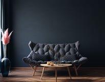 Home interior, luxury modern dark living room interior, black empty wall mock up