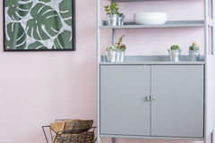 Home interior with metal bookcase Royalty Free Stock Image