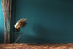Home interior mock-up with rope curtains and bouquet of dried flowers on table. 3d render stock illustration