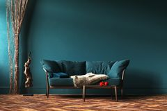 Home Interior Mock-up With Green Sofa, Rope Curtains And Table In Living Room Stock Photography