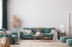 Free Home Interior Mock-up With Green Sofa, Wooden Table And Trendy Decoration In White Bright Living Room Royalty Free Stock Image - 209508756