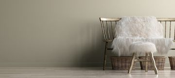 Free Home Interior Mock-up With Old Bench, Scandinavian Bohemian Style Stock Photo - 161013360