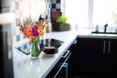 Home interior of modern kitchen Royalty Free Stock Images