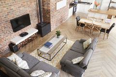 Home Interior With Open Plan Kitchen, Lounge And Dining Area Stock Photos